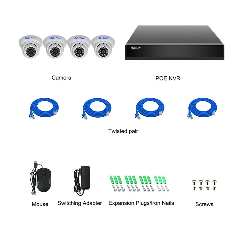 4ch 2mp Poe Kit Xonz Cameras
